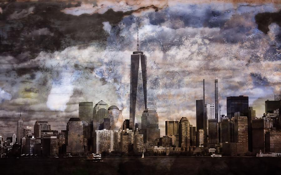 Abstract Manhattan Skyline Mixed Media