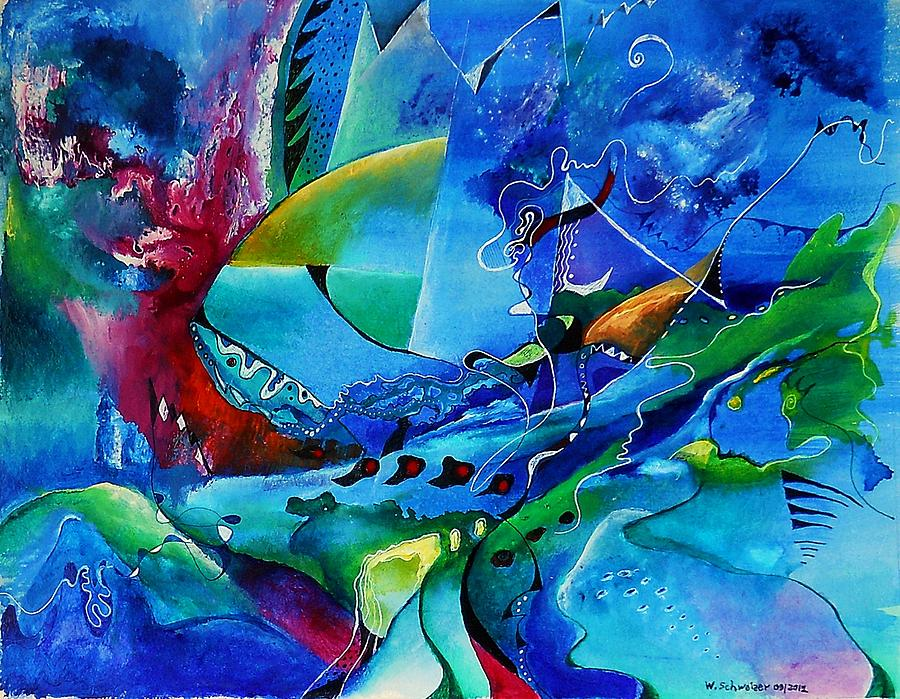 Abstract Mindscape No.5-improvisation Piano And Trumpet Painting  - Abstract Mindscape No.5-improvisation Piano And Trumpet Fine Art Print