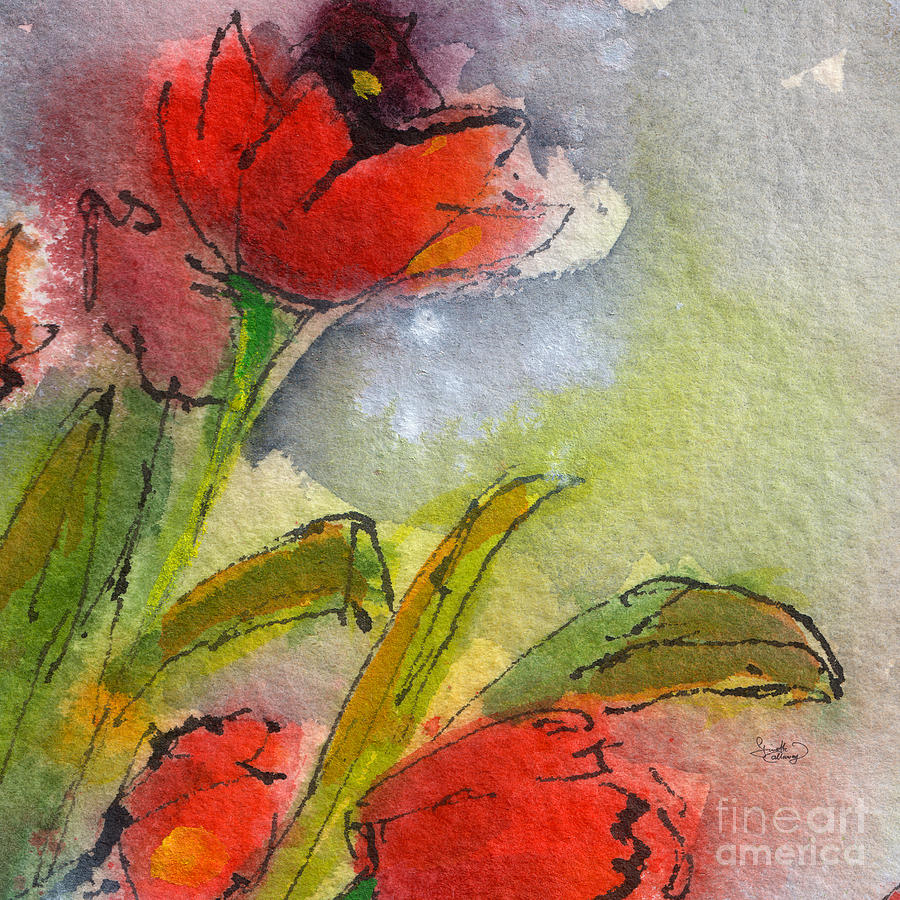 abstract modern tulips watercolor painting by ginette callaway
