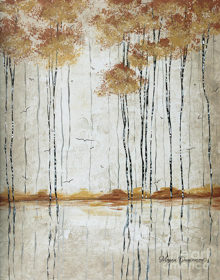 Abstract Neutral Landscape Pond Reflection Painting Mystified Dreams I By Megan Ducanson Painting