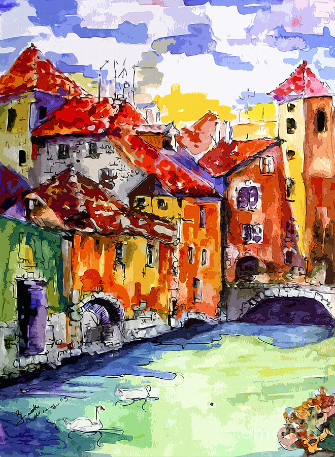 Abstract Old Houses In Annecy France Painting  - Abstract Old Houses In Annecy France Fine Art Print