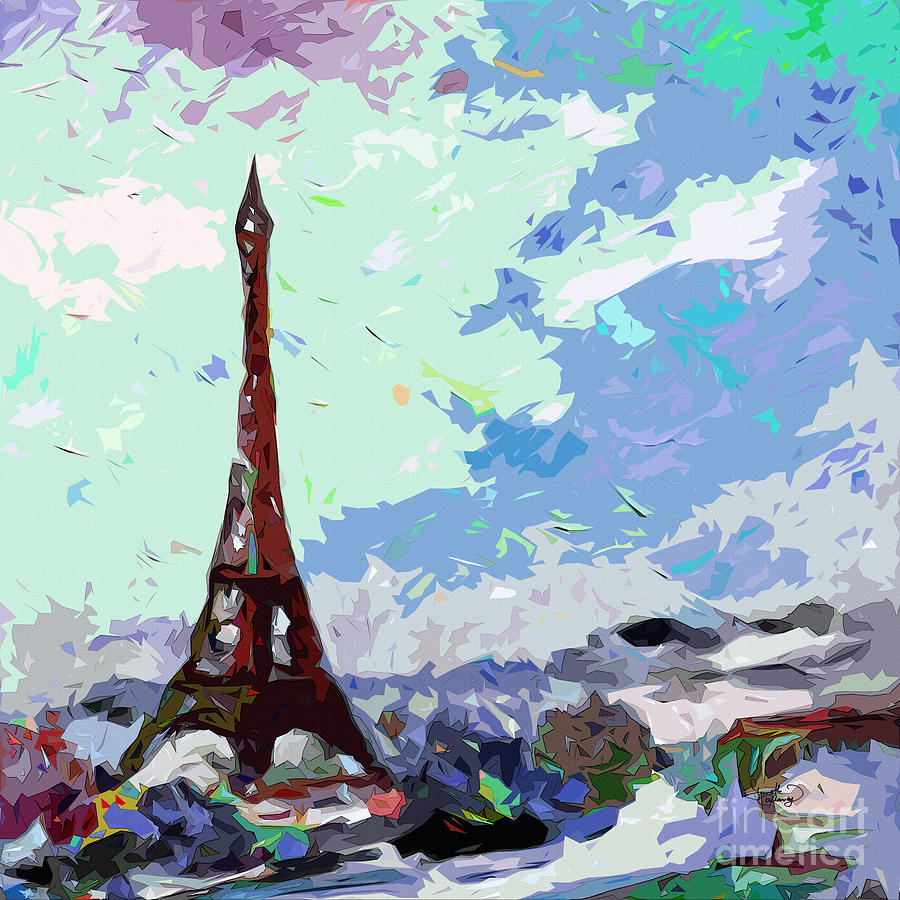 Abstract Paris Memories In Blue Painting  - Abstract Paris Memories In Blue Fine Art Print