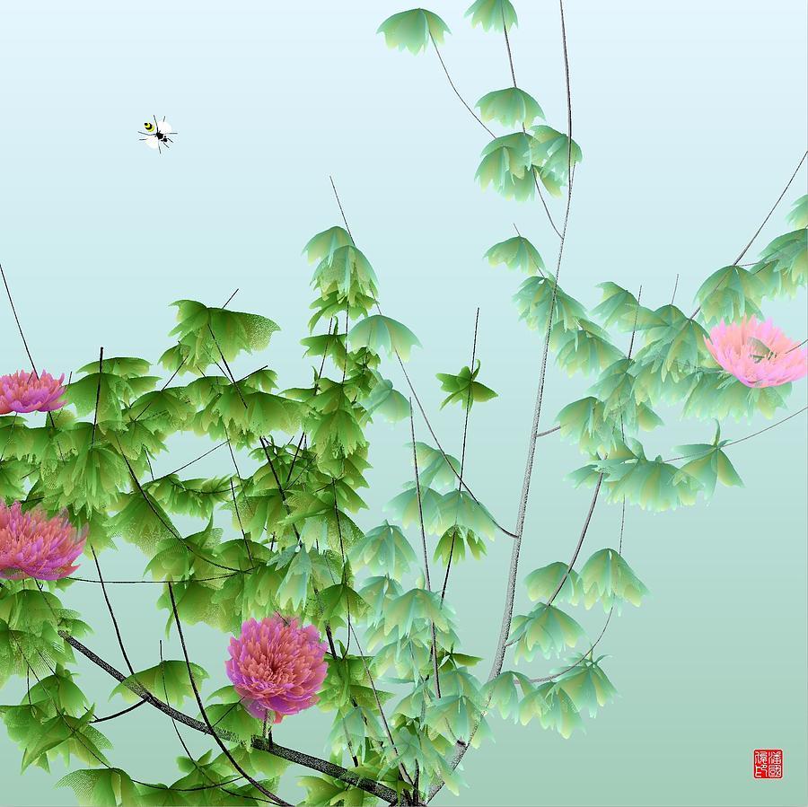Abstract Peony Wasp Digital Art