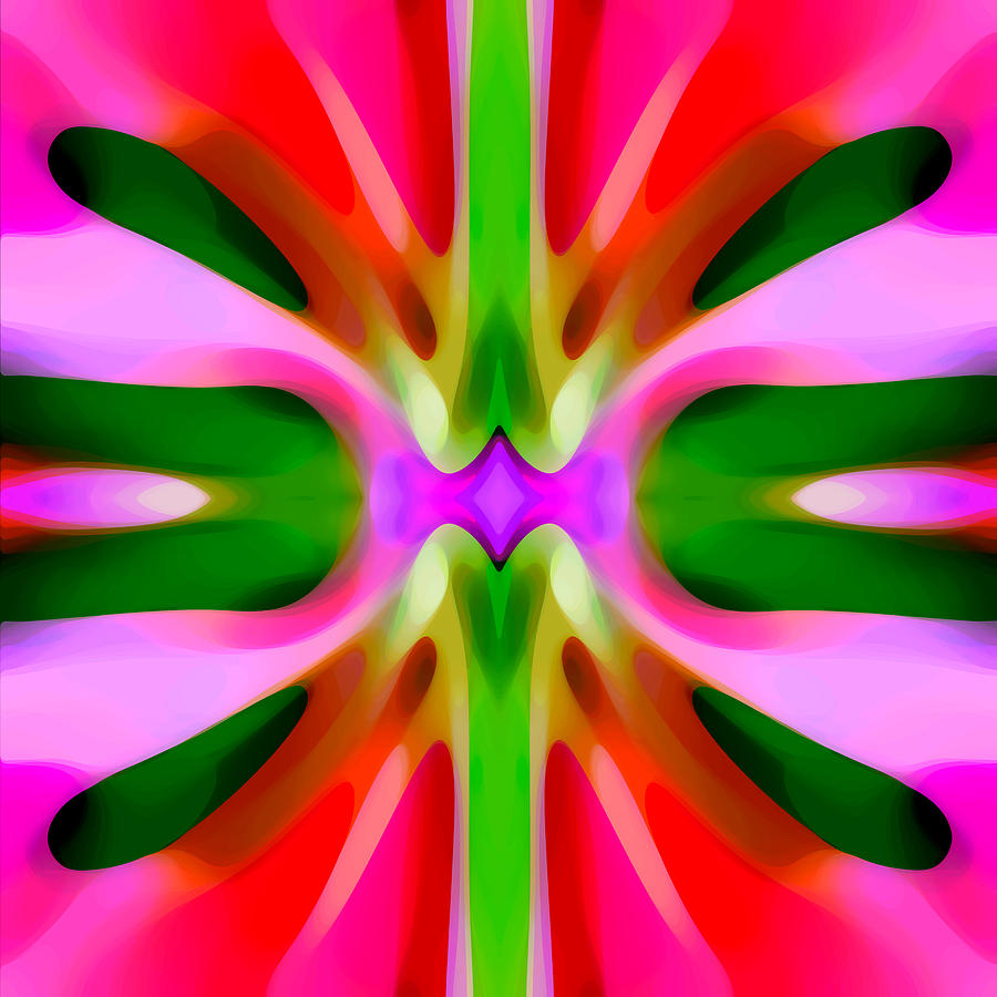 Abstract Pink Tree Symmetry Painting