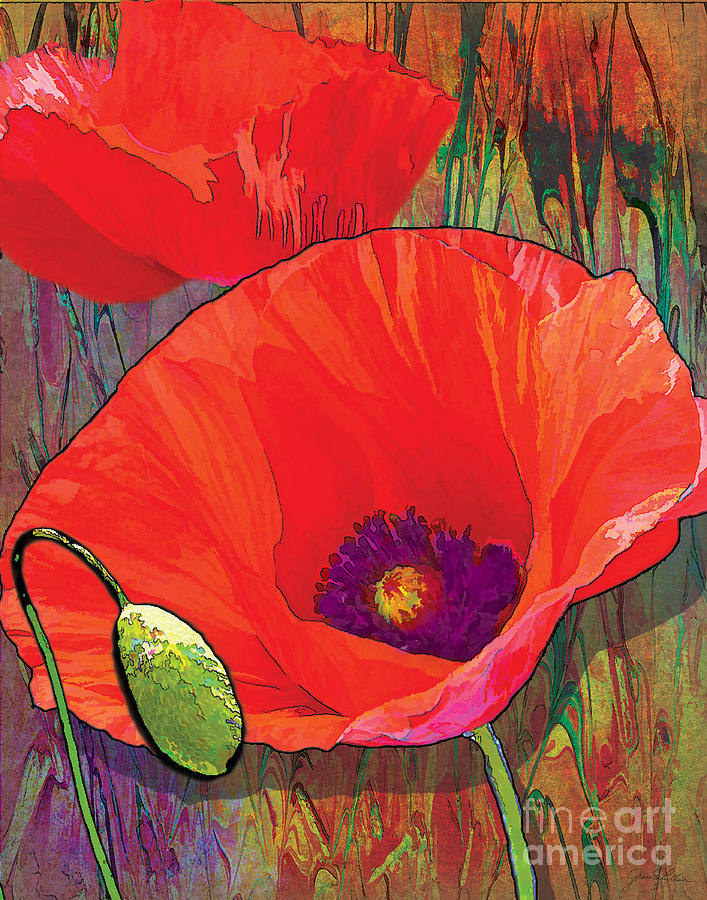 Floral Painting - Abstract Poppy B by Grace Pullen