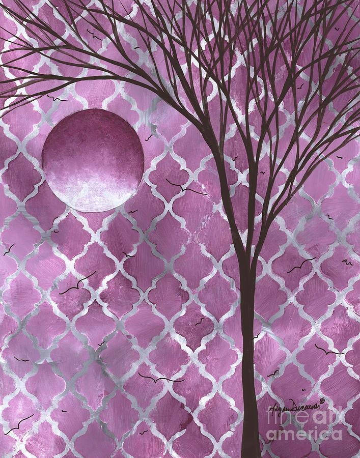 abstract purple pattern painting original landscape art