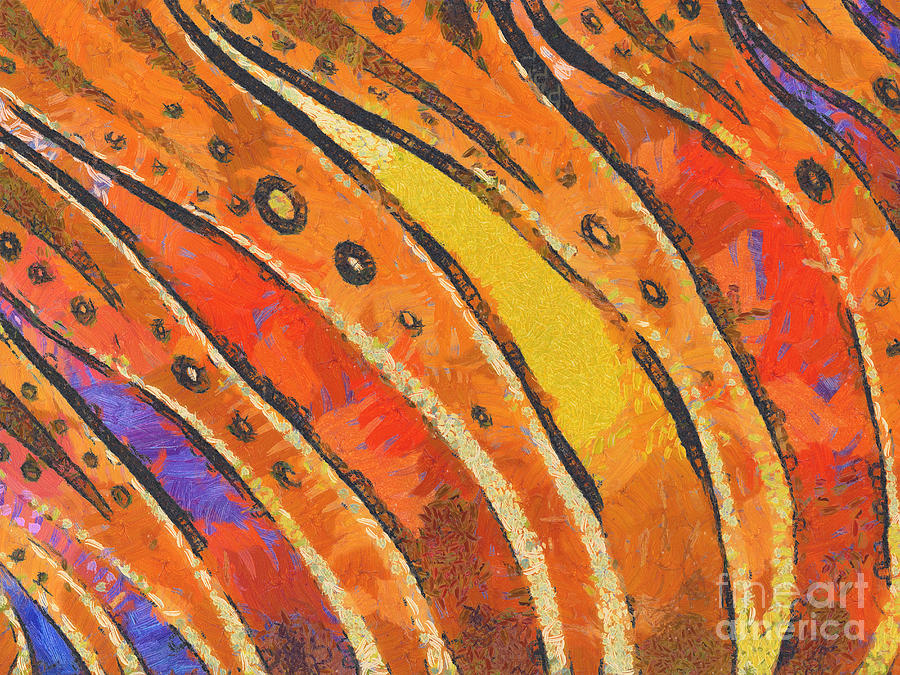 Abstract Rainbow Tiger Stripes Painting