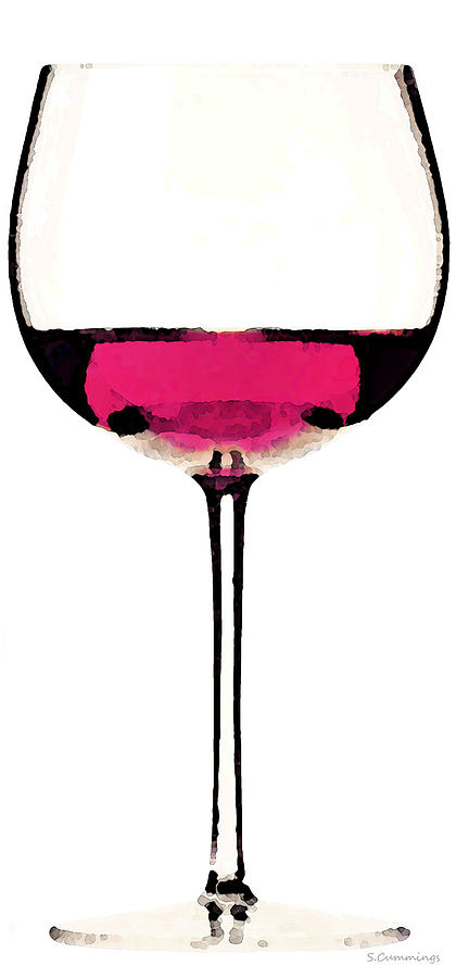 Abstract Red Wine Glass 1 Painting