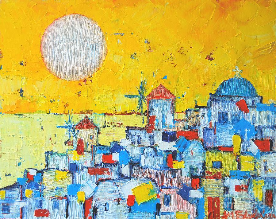 Abstract Santorini - Oia Before Sunset Painting  - Abstract Santorini - Oia Before Sunset Fine Art Print