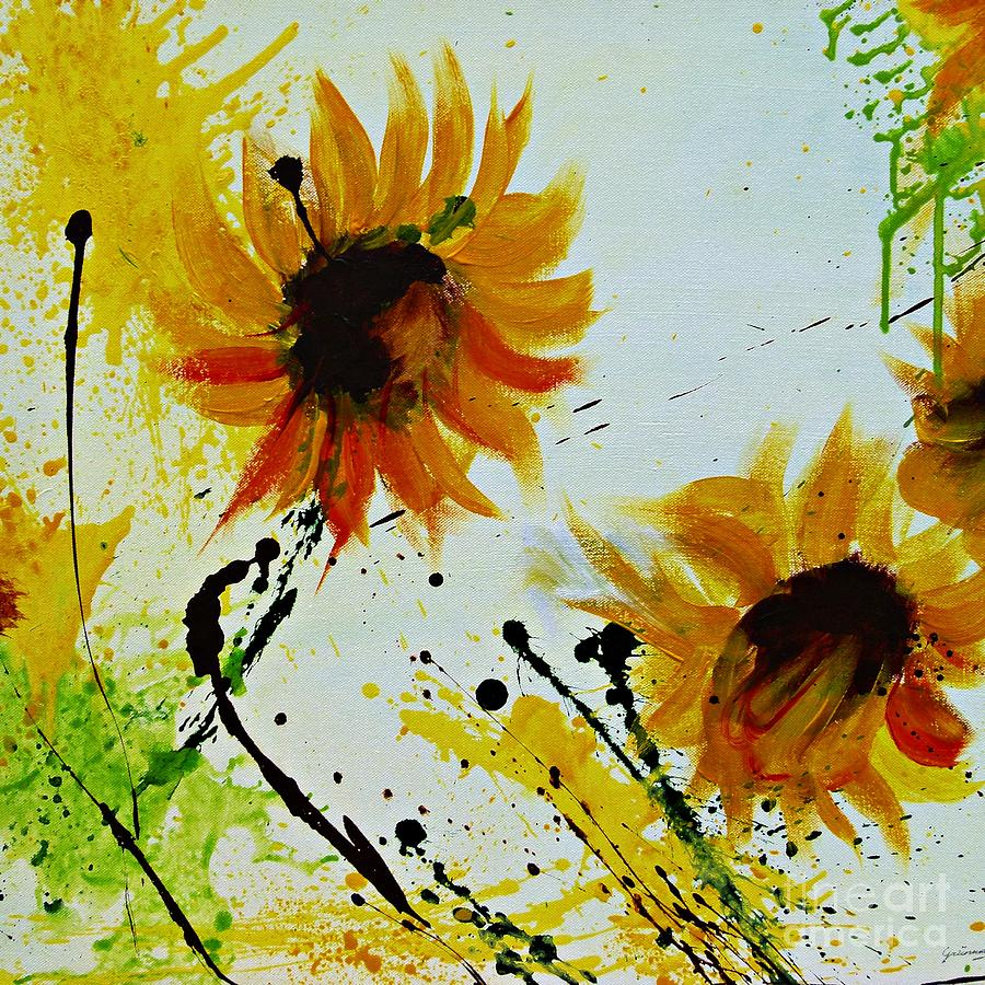 Sunflowers Painting - Abstract Sunflowers 2 by Ismeta Gruenwald