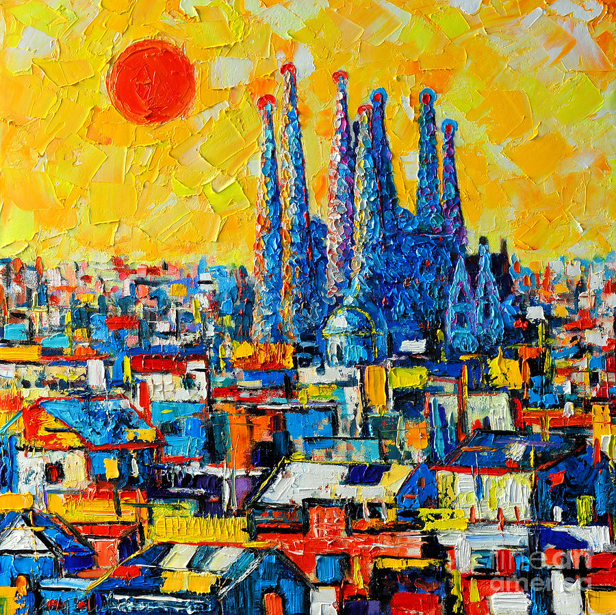 Abstract Sunset Over Sagrada Familia In Barcelona Painting  - Abstract Sunset Over Sagrada Familia In Barcelona Fine Art Print