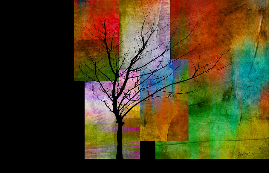Abstract Digital Art - abstract- trees - Color Blocks with Tree by Ann Powell