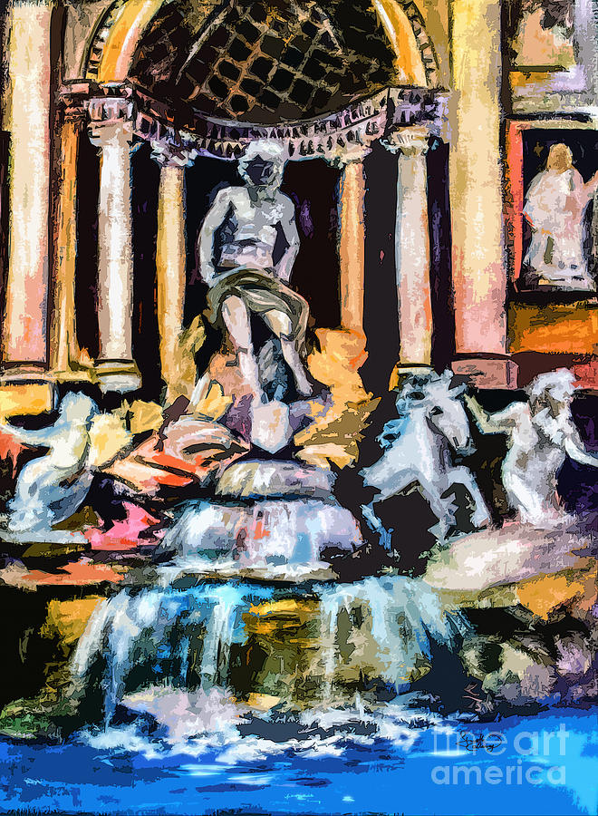 Abstract Painting - Abstract Trevi Fountain Rome Italy by Ginette Callaway