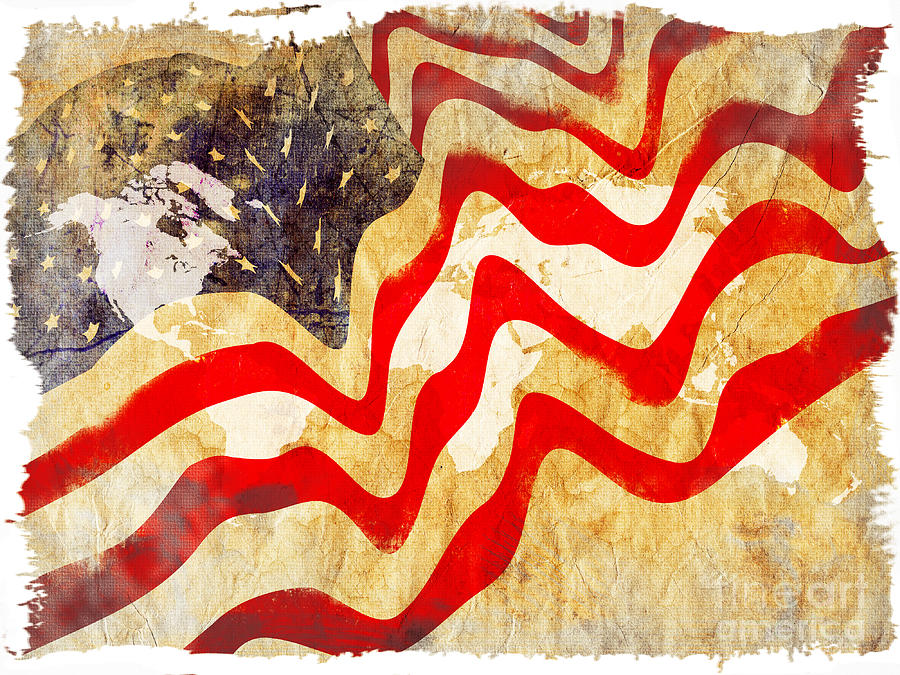 Abstract Usa Flag Painting