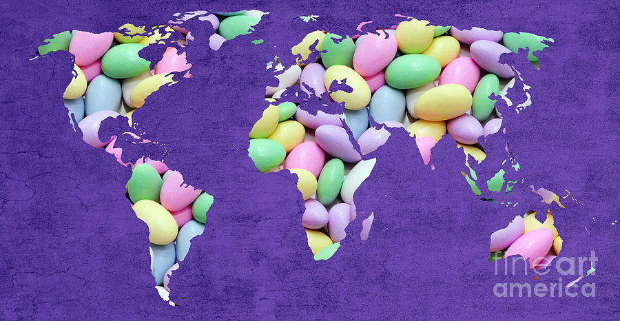 Abstract World Map - Jordan Almonds - Confections - Candy Shop Photograph
