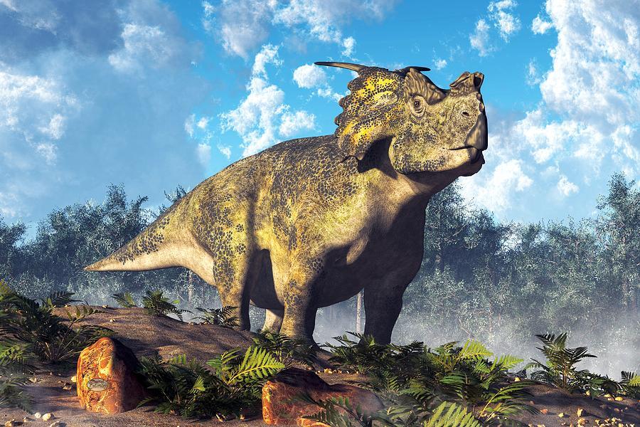 Achelousaurus Digital Art - Achelousaurus by Daniel Eskridge