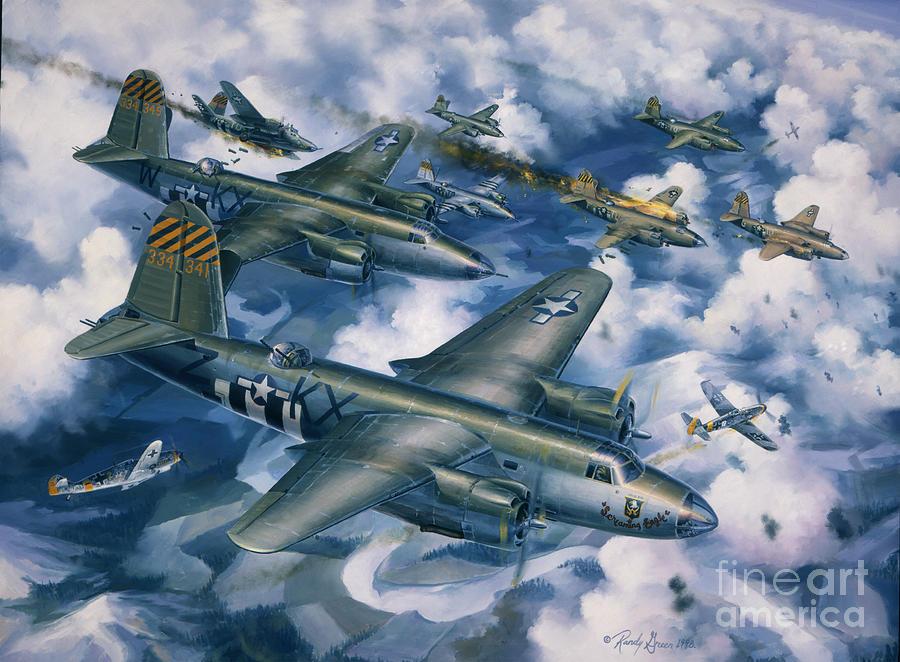 Aviation Art Painting - Achtung Zweimots by Randy Green