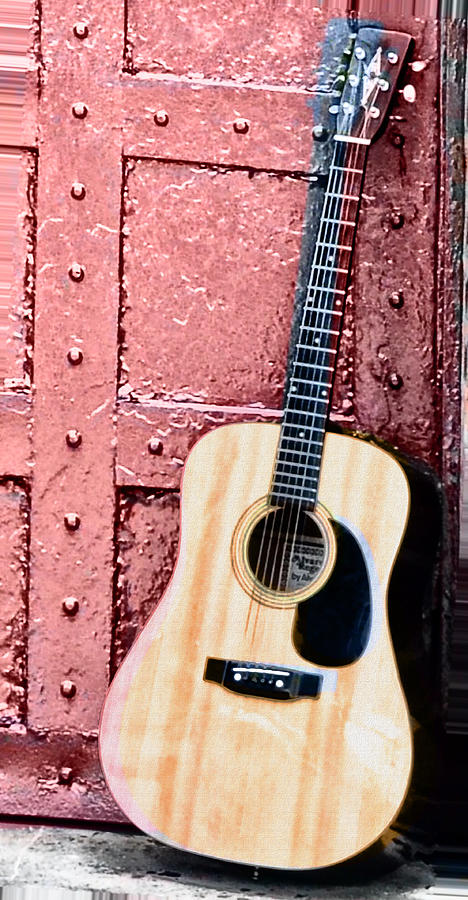 Acoustic Guitar And Red Door Photograph