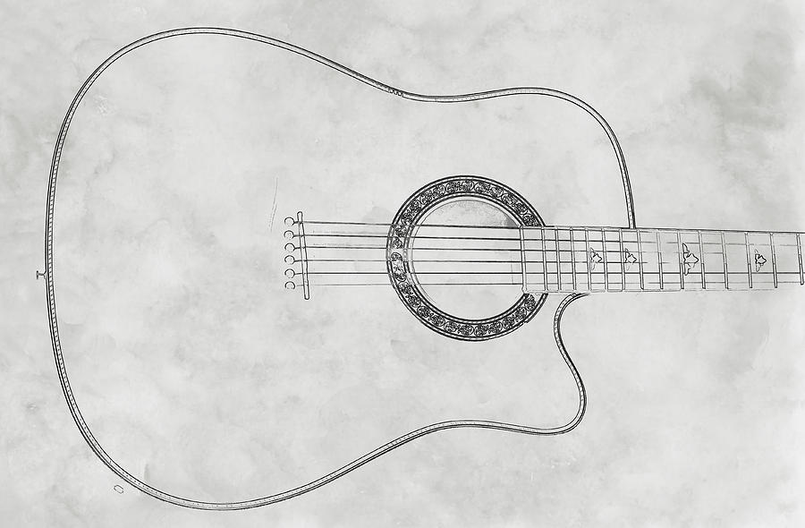 Acoustic Guitar On White Sketch Digital Art  - Acoustic Guitar On White Sketch Fine Art Print