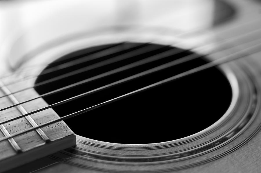 acoustic guitar strings black and white photograph by terry deluco. Black Bedroom Furniture Sets. Home Design Ideas