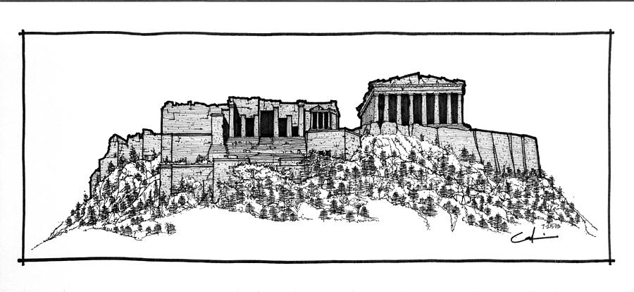Sketch Drawing - Acropolis Of Athens by Calvin Durham
