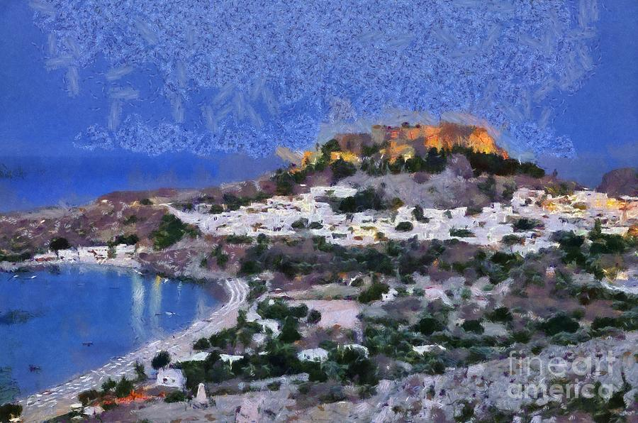 Acropolis Village And Beach Of Lindos Painting