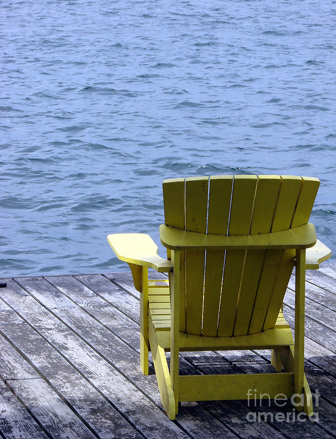 Adirondack Photograph - Adirondack Chair On Dock by Olivier Le Queinec