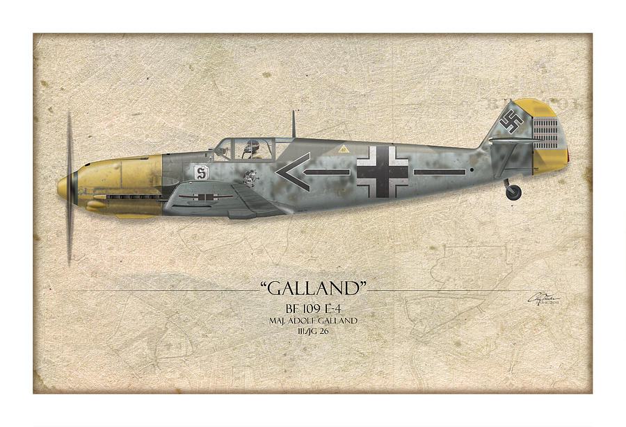 Adolf Galland Messerschmitt Bf-109 - Map Background Painting