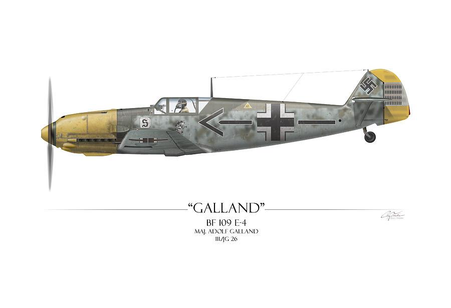 Adolf Galland Messerschmitt Bf-109 - White Background Painting