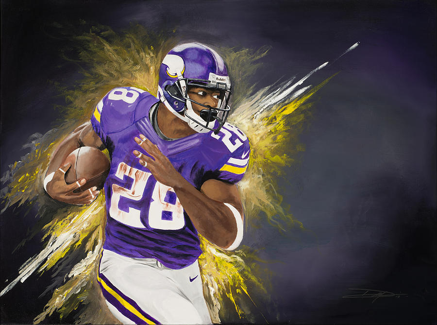 Ap Painting - Adrian Peterson by Don Medina