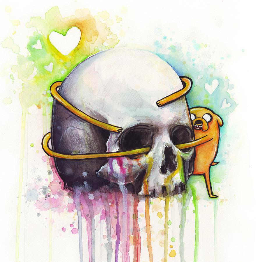 Adventure Time Jake Hugging Skull Watercolor Art Painting