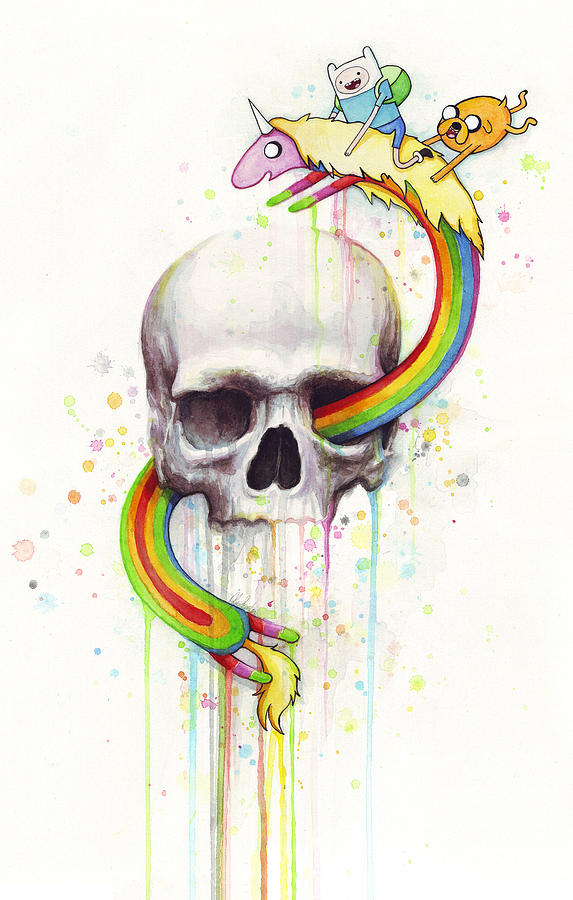 Adventure Time Skull Jake Finn Lady Rainicorn Watercolor Painting