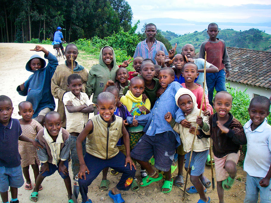 African Children Gawking For Camera Gishwati Forest Near Lake Kivu Rwanda Africa Photograph