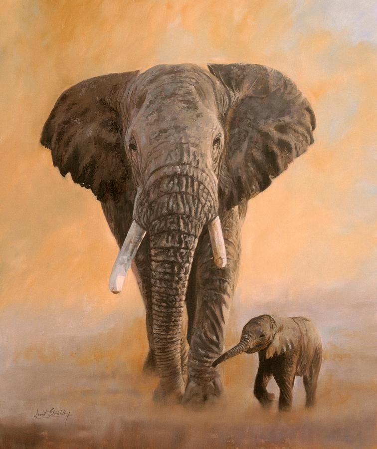 African Elephants Painting