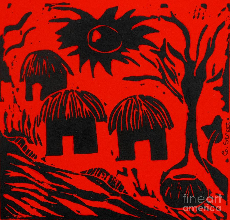 African Huts Red Relief  - African Huts Red Fine Art Print