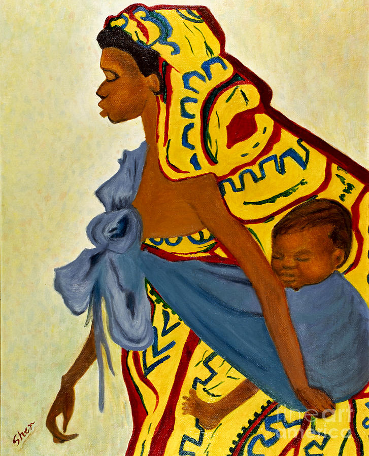 African Mother And Child Painting by Sher Nasser