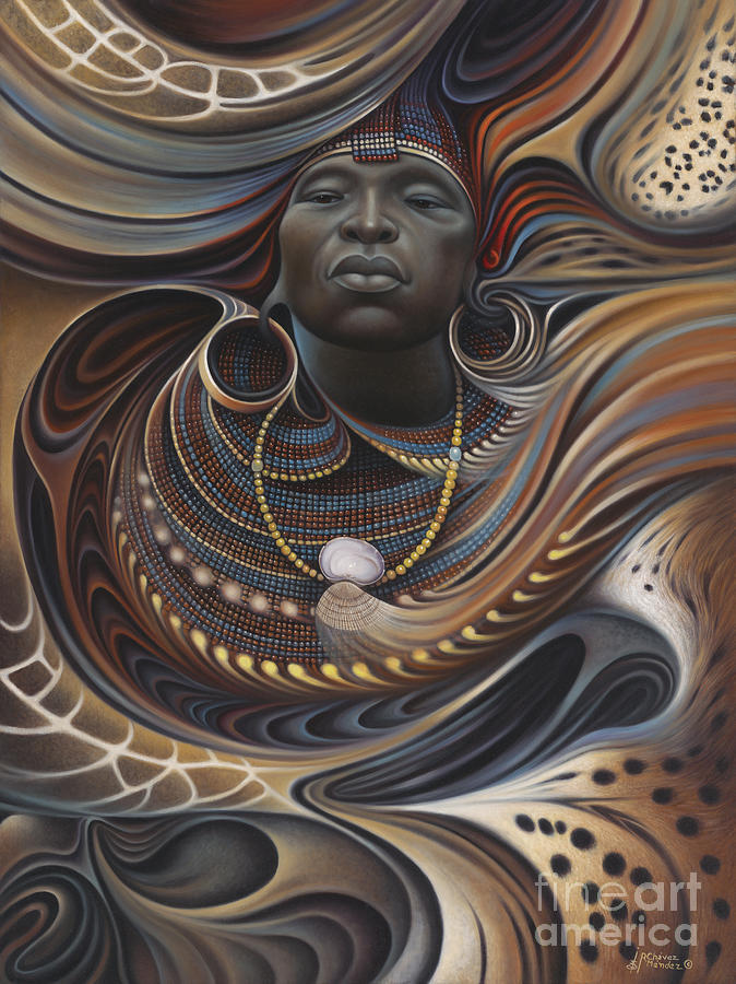 African Painting - African Spirits I by Ricardo Chavez-Mendez