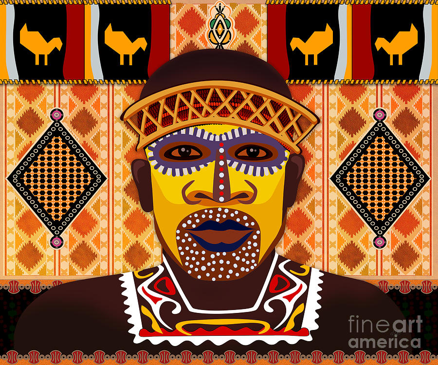 African Digital Art - African Tribesman 2 by Bedros Awak