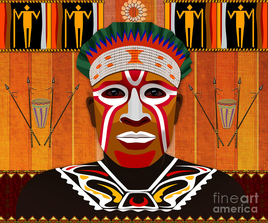 African Tribesman 3 Digital Art
