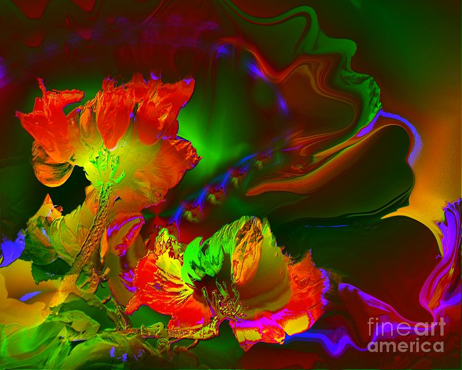 Flowers Digital Art - African Tulips by Doris Wood
