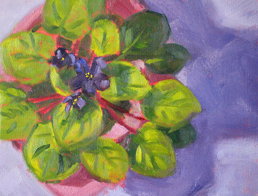 African Violet Still Life Oil Painting Painting
