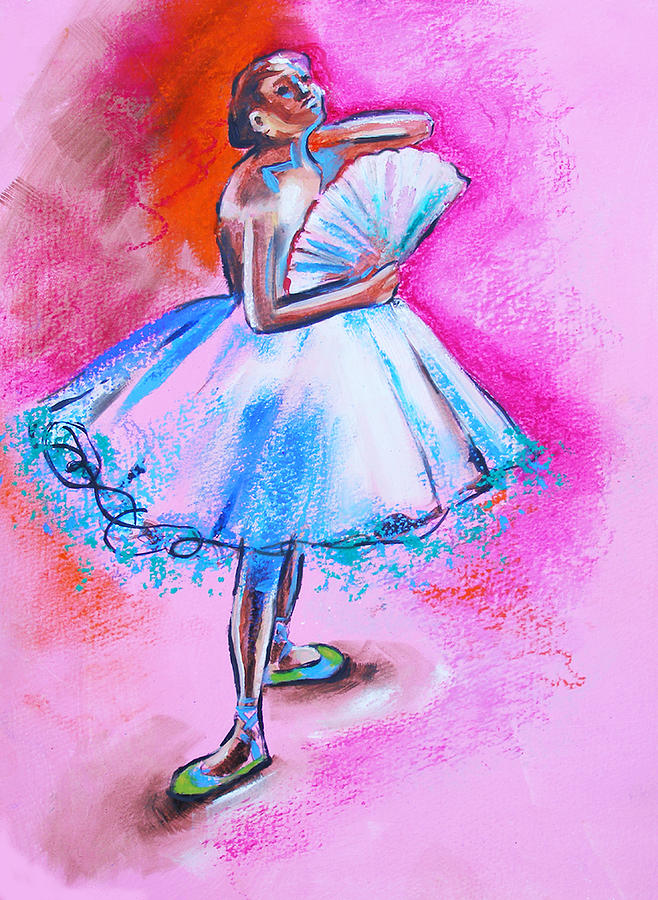 After Master Degas Ballerina With Fan Painting  - After Master Degas Ballerina With Fan Fine Art Print