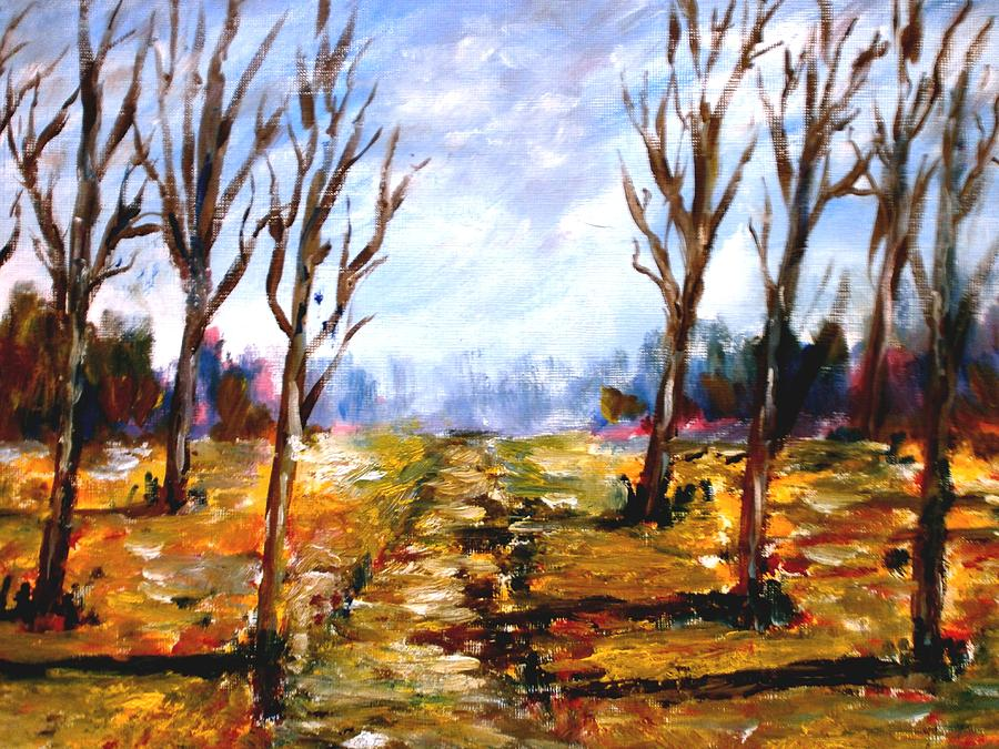 Original Painting Landscape Painting - Afterblown Forrest by Constantinos Charalampopoulos