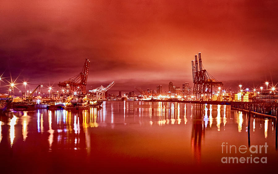 Afterglow Over Los Angeles Harbor Painting  - Afterglow Over Los Angeles Harbor Fine Art Print