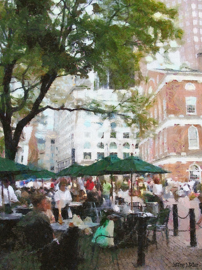 Afternoon At Faneuil Hall Painting  - Afternoon At Faneuil Hall Fine Art Print
