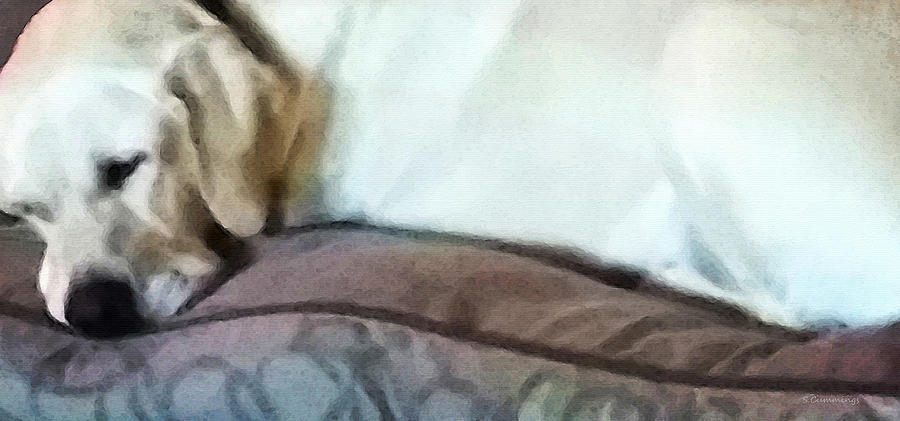 Afternoon Nap - Lab Dog Art By Sharon Cummings Painting