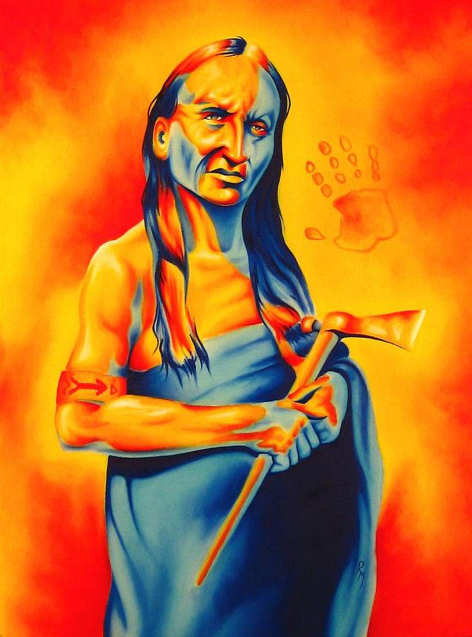 Native American Art Painting - Again? by Robert Martinez
