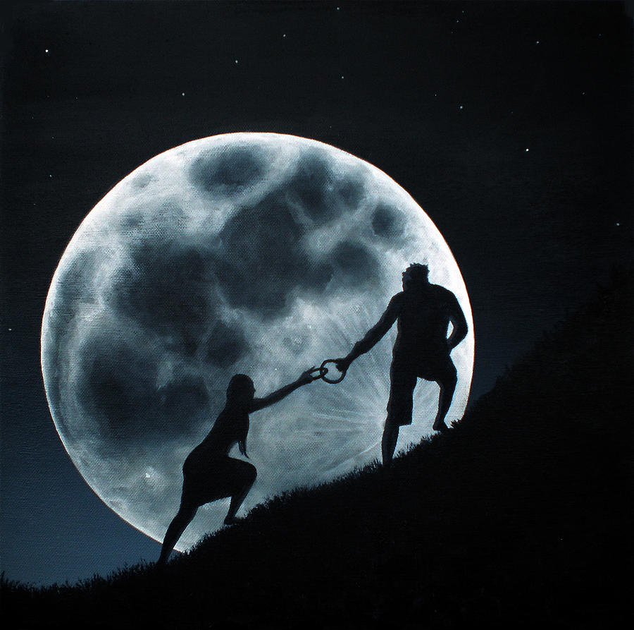 Agape Under A Full Moon Rising Painting  - Agape Under A Full Moon Rising Fine Art Print