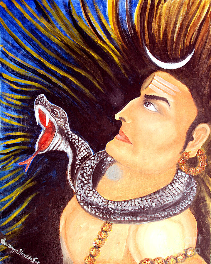 Aghora Rudra On The Night Of Shiva Painting  - Aghora Rudra On The Night Of Shiva Fine Art Print