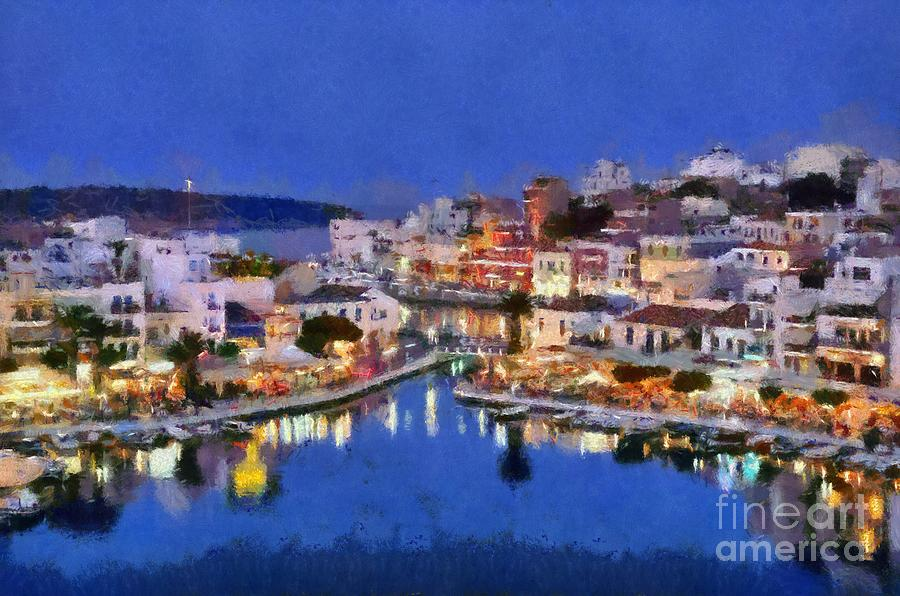 Painting Of Agios Nikolaos City Painting